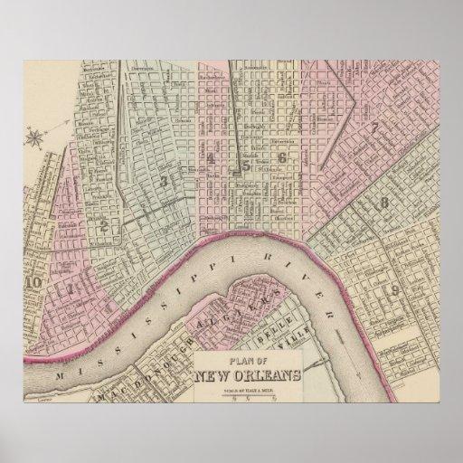 Mapa del vintage de New Orleans (1880) Póster