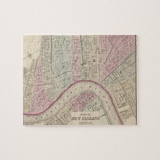 Mapa del vintage de New Orleans (1880) Puzzles