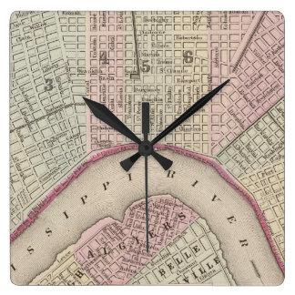 Mapa del vintage de New Orleans (1880) Relojes De Pared