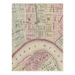 Mapa del vintage de New Orleans (1880) Tarjetas Postales