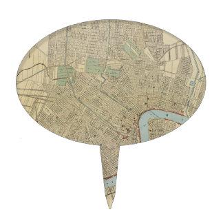 Mapa del vintage de New Orleans (1919) Figuras Para Tartas