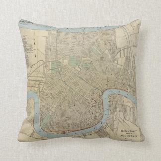 Mapa del vintage de New Orleans (1919) Almohada