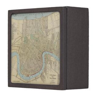 Mapa del vintage de New Orleans (1919) Cajas De Recuerdo De Calidad