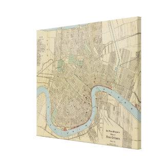Mapa del vintage de New Orleans (1919) Lona Estirada Galerías