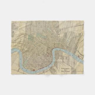Mapa del vintage de New Orleans (1919) Manta De Forro Polar
