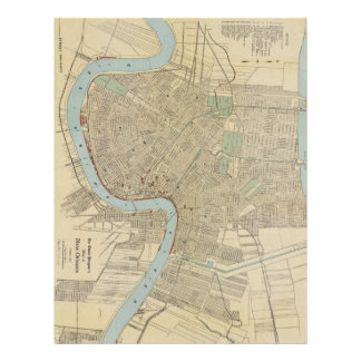 Mapa del vintage de New Orleans (1919) Plantillas De Membrete