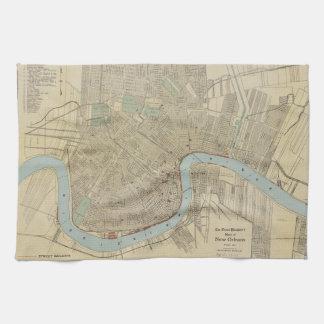 Mapa del vintage de New Orleans (1919) Toalla De Cocina