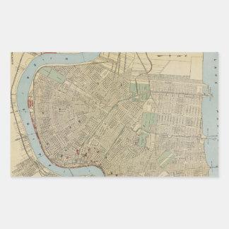 Mapa del vintage de New Orleans (1919) Rectangular Pegatinas