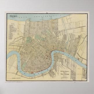 Mapa del vintage de New Orleans (1919) Póster
