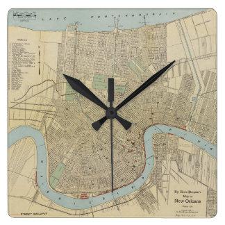 Mapa del vintage de New Orleans (1919) Reloj Cuadrado