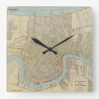 Mapa del vintage de New Orleans (1919) Reloj
