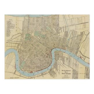 Mapa del vintage de New Orleans (1919) Tarjetas Postales