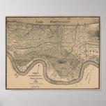 Mapa del vintage de New Orleans Póster