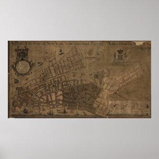 Mapa del vintage de New York City (1755) Póster