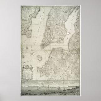 Mapa del vintage de New York City (1776) Póster