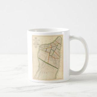 Mapa del vintage de New York City 1831 Tazas De Café