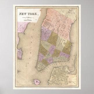 Mapa del vintage de New York City (1839) Posters