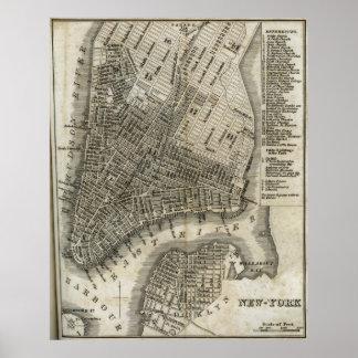 Mapa del vintage de New York City (1842) Posters