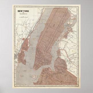 Mapa del vintage de New York City (1845) 2 Póster