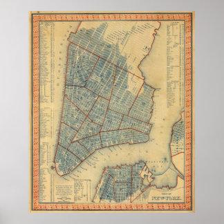 Mapa del vintage de New York City (1846) Póster