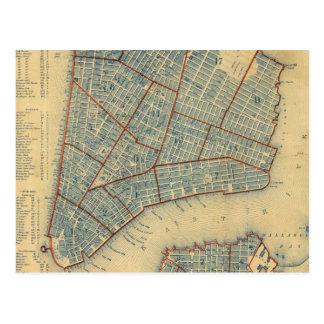 Mapa del vintage de New York City (1846) Tarjeta Postal