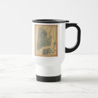 Mapa del vintage de New York City 1846 Tazas De Café