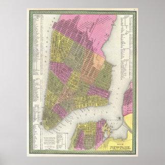 Mapa del vintage de New York City (1848) Póster