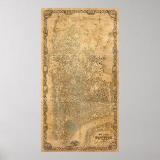 Mapa del vintage de New York City (1852) Póster
