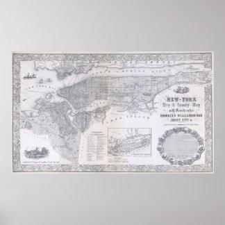 Mapa del vintage de New York City (1855) Póster