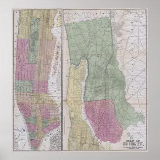 Mapa del vintage de New York City (1863) Póster