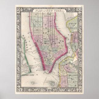 Mapa del vintage de New York City (1864) Póster