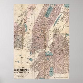Mapa del vintage de New York City (1867) Póster