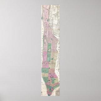 Mapa del vintage de New York City (1868) Póster