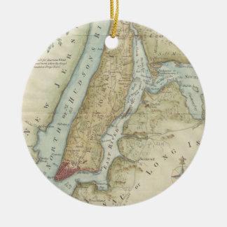 Mapa del vintage de New York City (1869) Adorno Navideño Redondo De Cerámica