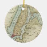 Mapa del vintage de New York City (1869) Ornaments Para Arbol De Navidad