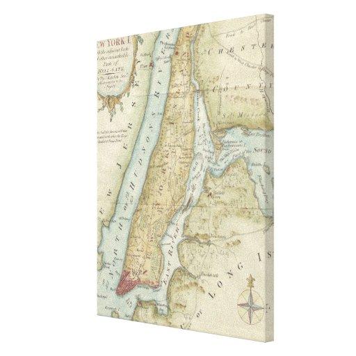 Mapa del vintage de New York City (1869) Lona Envuelta Para Galerías