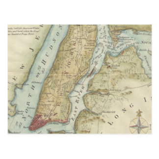 Mapa del vintage de New York City (1869) Postal
