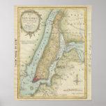 Mapa del vintage de New York City (1869) Póster