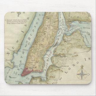 Mapa del vintage de New York City (1869) Tapete De Ratones