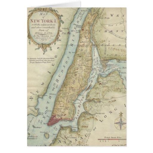 Mapa del vintage de New York City (1869) Tarjeta De Felicitación