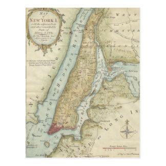 Mapa del vintage de New York City (1869) Tarjeta Postal