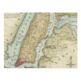 Mapa del vintage de New York City (1869) Postales