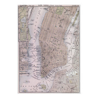 Mapa del vintage de New York City (1884) Posters