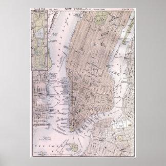 Mapa del vintage de New York City (1884) Póster