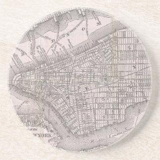 Mapa del vintage de New York City (1886) Posavasos Cerveza