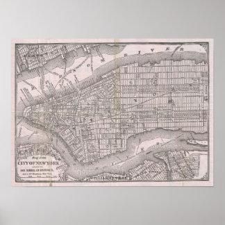 Mapa del vintage de New York City (1886) Póster