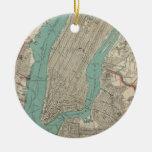 Mapa del vintage de New York City (1890) Adorno Navideño Redondo De Cerámica