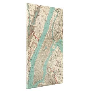 Mapa del vintage de New York City (1890) Lona Envuelta Para Galerías