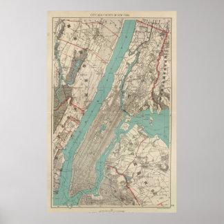 Mapa del vintage de New York City (1890) Poster