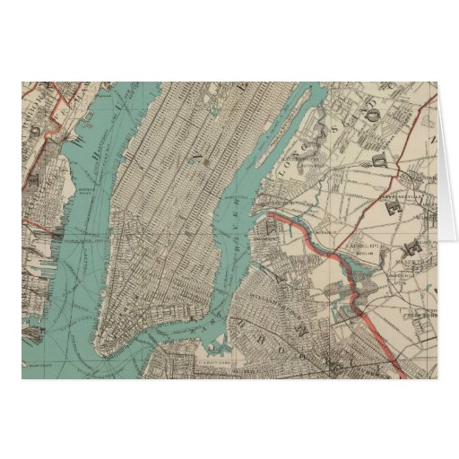 Mapa del vintage de New York City (1890) Tarjetas